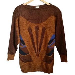 Vintage Mondi Brown & Blue Art Deco Wool Sweater